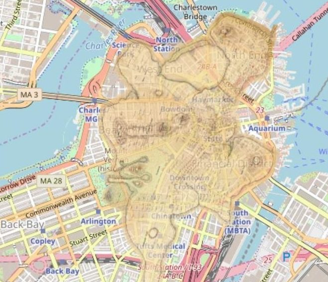 A map of Boston with historical Clough Map overlaid