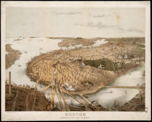 Sepia aerial drawing of central Boston from North perspective